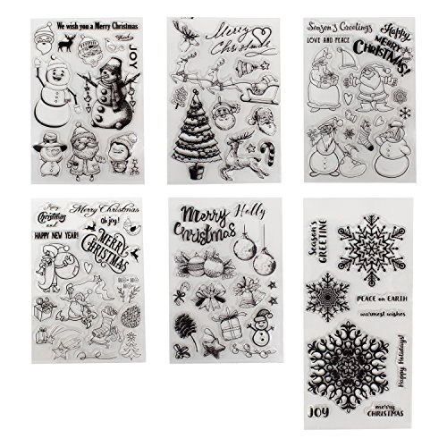 6 Sheets Different Christmas Theme Clear Stamps Scrapbooking Album Paper Cards Making Decoration(Christmas Theme) by B-Sin