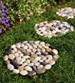 Set of 3 Indoor/Outdoor Multicolored River Rock Stepping Stones