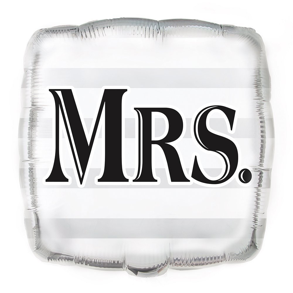 MR andMRS Wedding Balloons 18 Foil Square Silver
