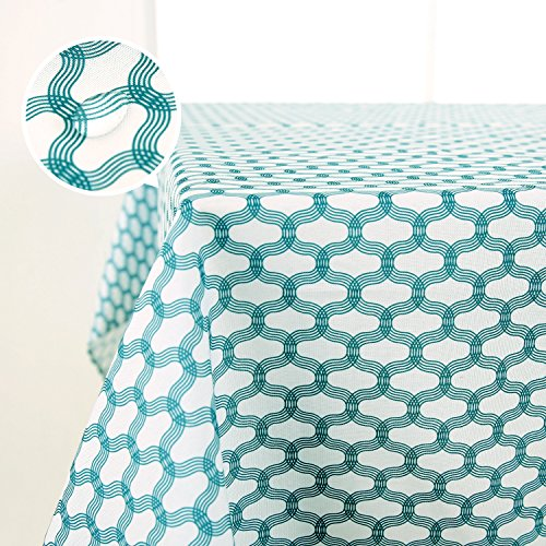 Deconovo Waterproof Square Tablecloth Wrinkle Resistant Moroccan Printed Tablecloth for Picnics 60 inch by 60 inch Teal