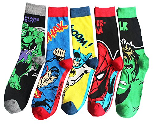Sherry007 Men's Marvel Comics Mix Hulk, Spiderman, Batman - Superhero Socks Men