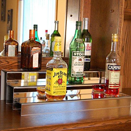 (KegWorks 3-Tier Liquor Bottle Step Shelf - Mirror Finish - 24 Inches long )