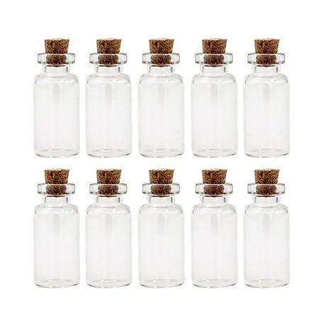10pcs Heart Shape Mini Glass Jars Wishing Bottles Vials with Cork Stoppers