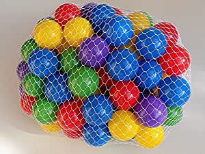 """22% Larger - My Balls Pack of 100 2.5"""" 65mm Ball Pit Balls in 5 Bright Colors - Crush-proof Air-Filled Soft Plastic, Phthalate & BPA Free"""