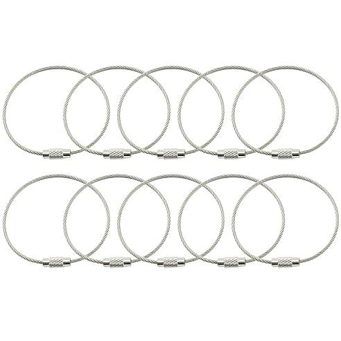 COM-FOUR® 10x Outdoor Edelstahl Schlüsselring, Spiraldraht ca. 16 cm ...