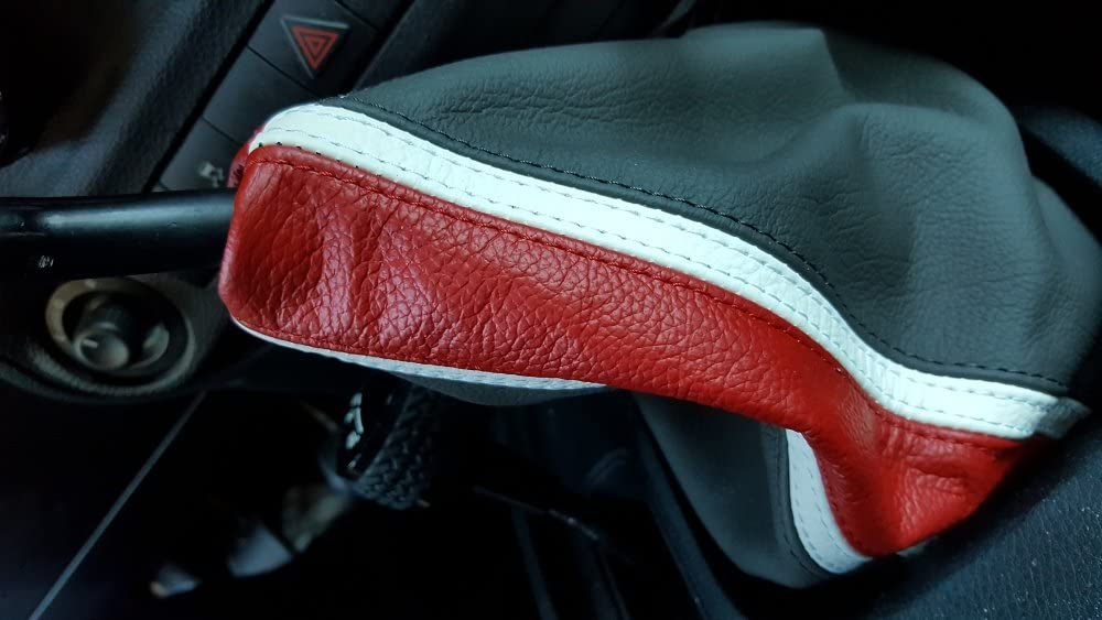 Black Leather-Red Thread RedlineGoods Shift Boot Compatible with Jeep Wrangler JK 2011-18