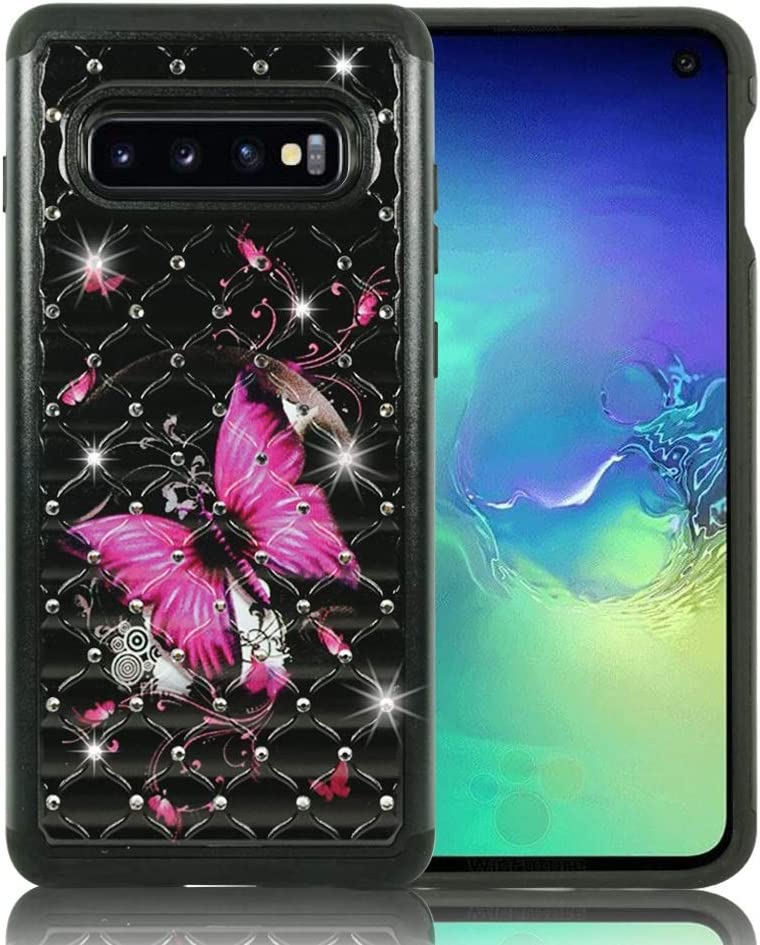 "Galaxy S10 Case, ZASE Design Case for Samsung Galaxy S10 6.1"" Hybrid Dual Layer Protection [Jewel Rhinestone] Shockproof Slim Hard Shell Sparkly Crystal [Bling Diamond] (Hot Pink Butterfly Flower)"