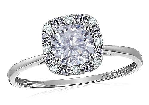 Amazon.com: Star K blanco de 10 K Classic corte cojín anillo ...