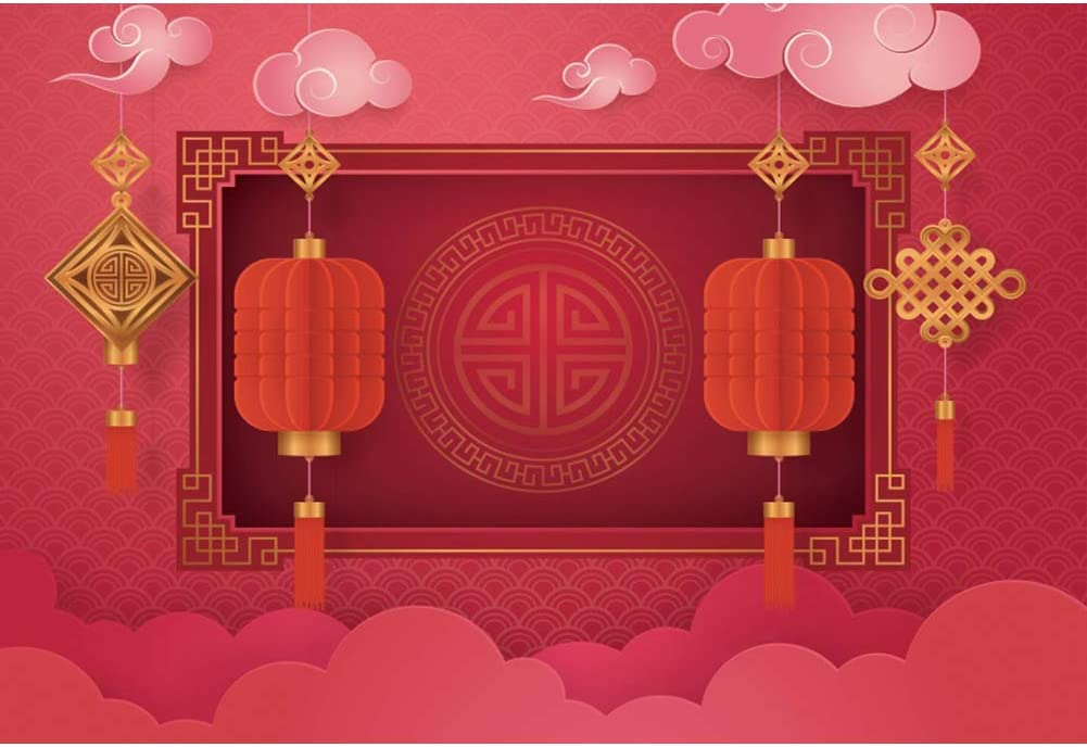 YongFoto 10x9ft Chinese Festivals Decoration Photography Backdrop Red Lantern Chinese Knot Background Red Wall Spring Festival Lantern Festival Banner Kids Adult Portrait Photo Booth Wallpaper