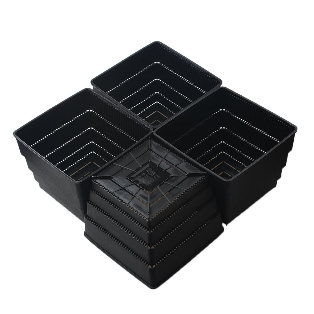 BangQiao 6.15 Inch Plastic Square Flower and Succulent Nursery Plant Pot/Planter/Container,Pack of 4 (XL, Black)