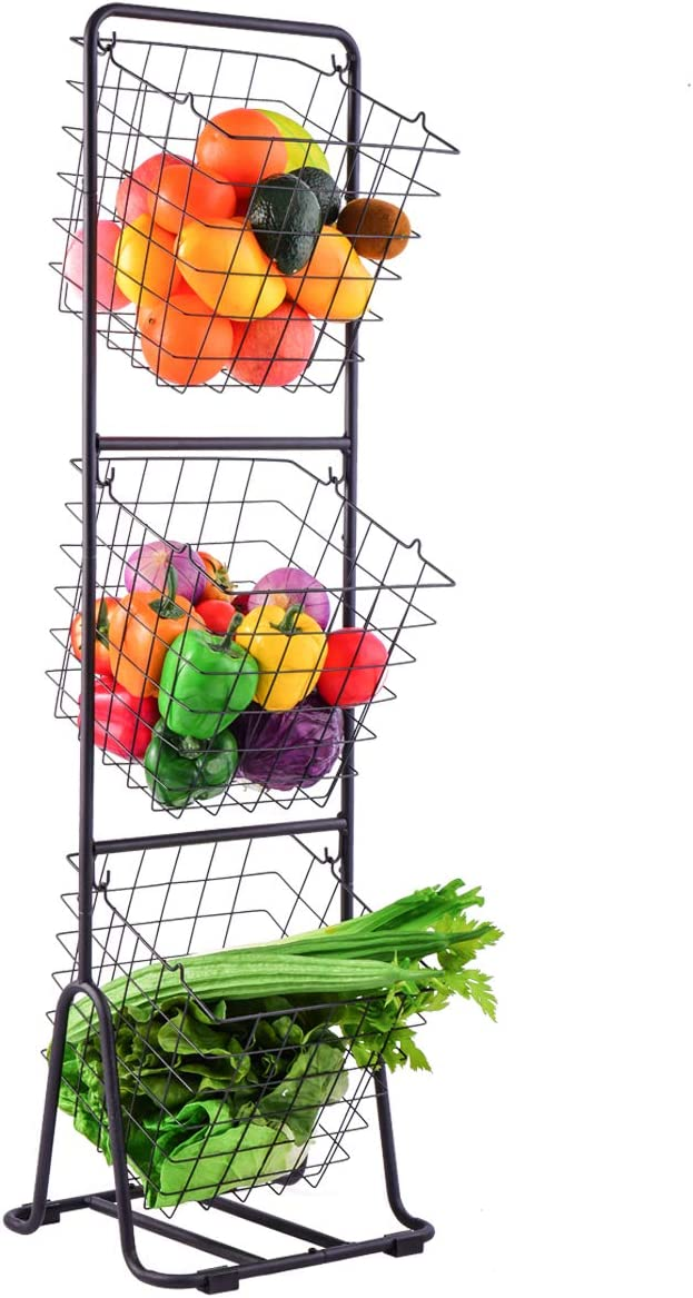 NSFRCLHO 3-Tier Market Basket Stand Metal Wire Freestanding Storage Shelves for Kitchen Vegetables Fruits Bathroom Towels Containers Home Accessories