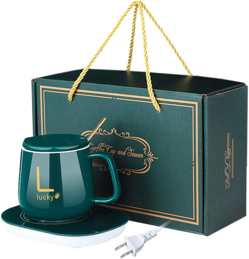 Coffee Mug-Warmer, Smart Coffee Cup Warmer for Desk with Automatic On/Off to Keep Temperature, Include Ceramic Mug, Cover, Spoon, Enjoy Anytime Hot Drinks, Valentine's Day/Birthday Gift Dark green-US