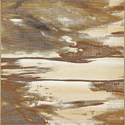 Unique Loom Outdoor Collection Over-Dyed Rustic Abstract Transitional Indoor and Outdoor Brown Square Rug (6′ x 6′) Review