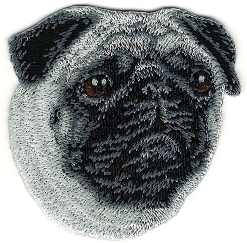 (Pug Dog Breed Portrait Embroidery Patch)
