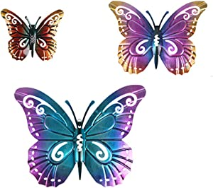 JHP Metal Butterfly Wall Decor, Inspirational Hanging Sculptures Handcrafted Butterfly Wall Decor for Indoor or Outdoor Fence, porch, Room, Garden Wall Decor Accent Colored Butterfly Set of Three