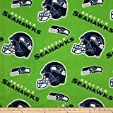 Fabric Traditions NFL Fleece Seattle Seahawks Tossed Helmets Fabric by The Yard, Multi