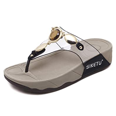 94aacc2ddba6 Women s Sandals Summer Bohemia Rhinestone Flip Flops Beach Thong Ladies Flat  Gladiator Sandals Bead Wedge Shoes
