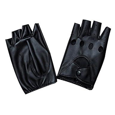 YAMALL Paire de Mitaines en cuir Mitaines Fingerless En Cuir Noir ... 101cd6f655a