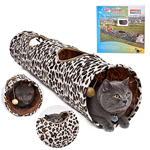 PAWZ Road Cat Tunnel Leopard Print Crinkly Cat Fun 2 Holes Long Tunnel Kitten Toys Pet Tunnel