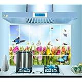 ufengke® Tulipani Colorati e Farfalle Adesivi Murali, Foglio di Alluminio Prova di Olio Adesivi da Parete Removibili/Stickers Murali/Decorazione Murale per la Cucina