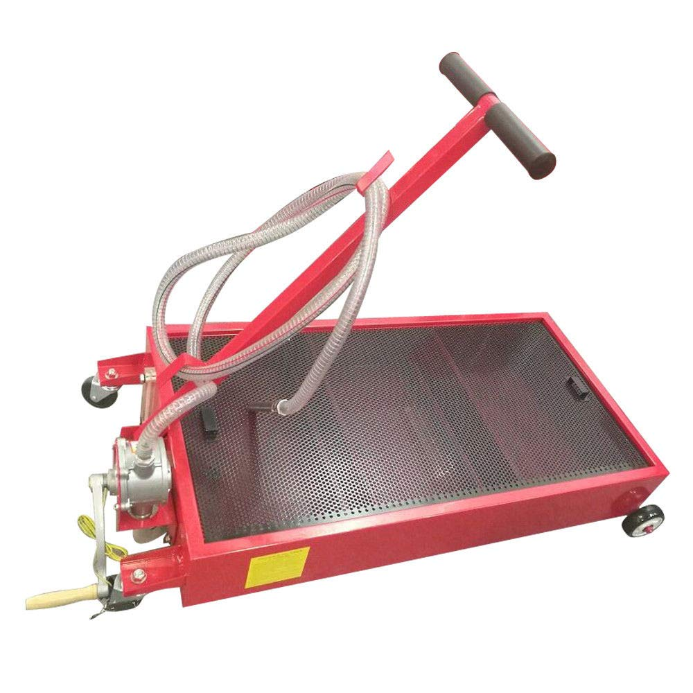 Manoch 20 Gallon Oil Drain Pan Low Profile Dolly With Pump 8 Feet Hose and Wheels Car Truck Material: Steel Color: Red Capacity: 20 Gallon Overall Dimensions: (51.57 x 25.2 x 31.5)'' (L x W x H)