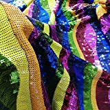 Sequin Fabric by The Yard Colors Multicolour Sequins on Tulle Mesh Embroidery DIY Apparel Sewing Wedding/Party/Evening Dress Lace Fabric 1 Yard -1017S