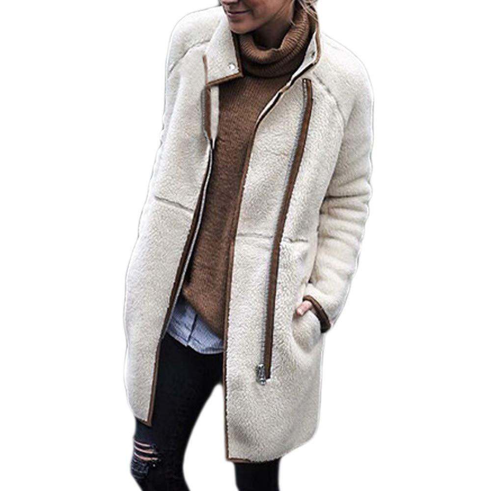 Autumn Winter Women Long Sleeve Jacket, Vanvler Ladies Velvet Lantern Sleeve Turtle Neck Zipper Coat Top Sweater Blouse Vanvler❤women coat jacket