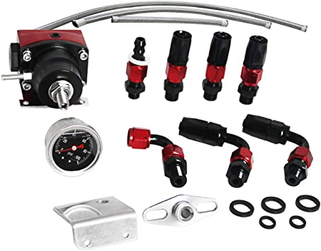 ay-autoparts Universal Adjustable Aluminum Fuel Pressure Regulator Kit w// Gauge 100psi AN6 Fuel Line Hose and Fitting End Connector Kits Black.
