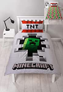 Minecraft Dynamite Single Duvet Cover | Officially Licensed Reversible Two Sided Creeper Design with Matching Pillowcase