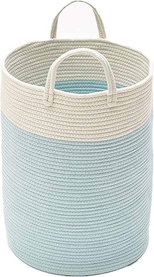 Tiowo Grande Cuerda de Algodon Cestas De Lavado De Pom Pom Cestos para la Colada Cesta de Almacenamiento Cesto de lavandería para bebés Contenedor de Juguetes Decorativo para Guardería con asa (Azul):
