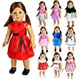 Barwa 5 Pcs Different Styles Outdoor Dresses with 5 Shoes Set for 18 Inch American Girl Doll(Random Styles)