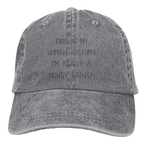 This Is My Human Costume I'm Really A Honey Badger Adjustable Washed Cap Cowboy Baseball Hat (Honey Badger Adult Costumes)