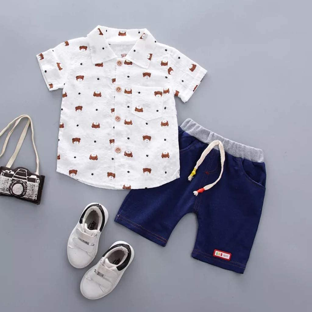 Toddler Boys Summer Set Baby Boy Gentleman Outfits Funny Printed Short Sleeve Shirt Denim Shorts Set