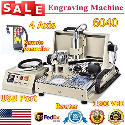 1500W 4AXIS USB CNC Router 6040T Engraver Machine Mill Metal Woodworking 3D Carve with Water-Cooled VFD + Remote Controller