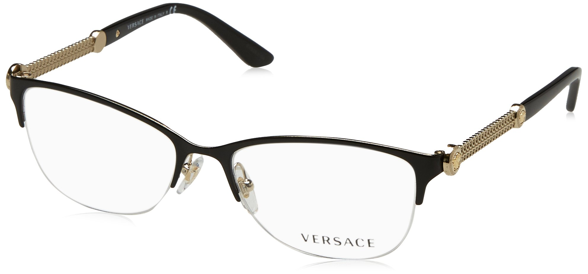 Versace VE1228 Eyeglass Frames 1291-53 - Black/pale Gold VE1228-1291-53
