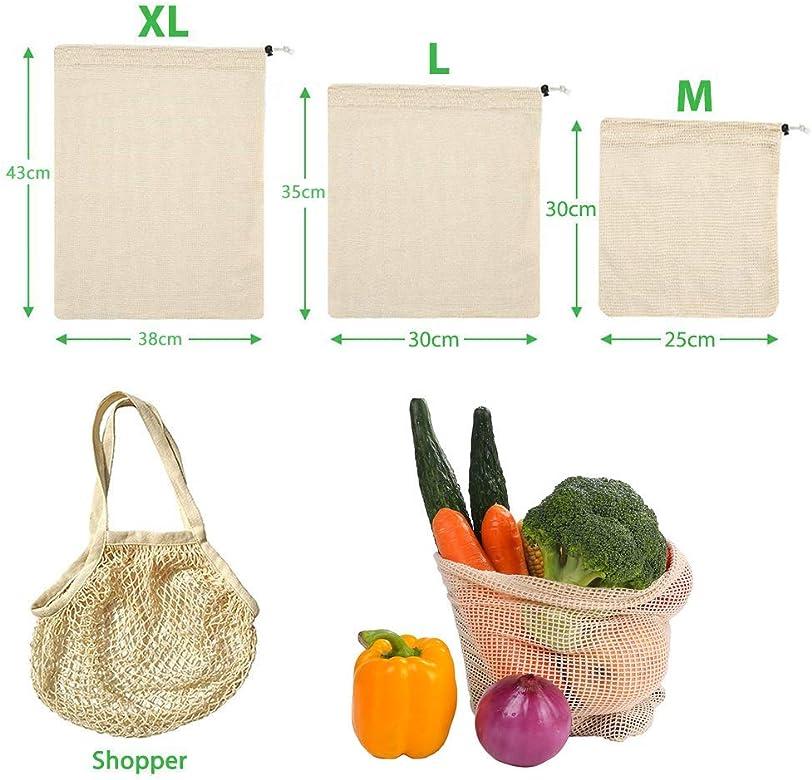 9 Piezas Bolsas Fruta Reutilizables,Bolsas de Vegetales Reutilizables de algodón,Bolsas de Frutas y Verduras Bolsas de la Compra con Bolsa de Pan de algodón, sin plástico, Reutilizables(3*S, 3*M, 3*L): Amazon.es: Ropa y