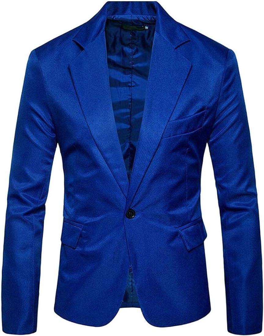 Jmwss QD Mens Leisure Peaked Lapel Solid Color 1-Button Slim Fit Suit Blazer Jackets