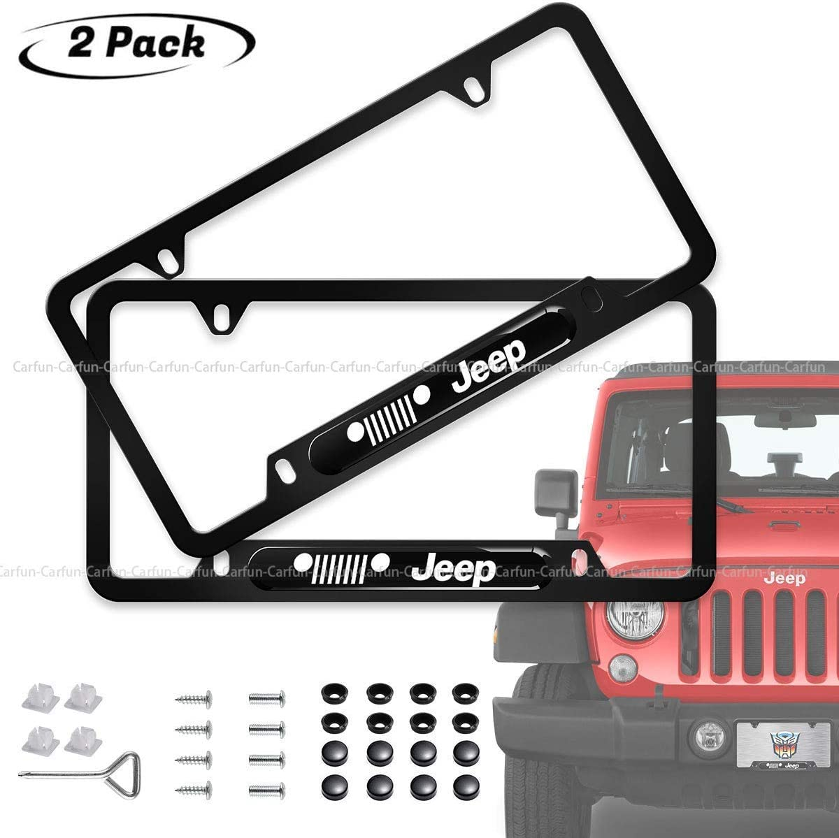 cargooghi 2pcs License Plate Frames with Screw Caps Set Stainless Steel Frame Applicable to US Standard Cars License Plate Fit Jaguar Accessory fit Jaguar