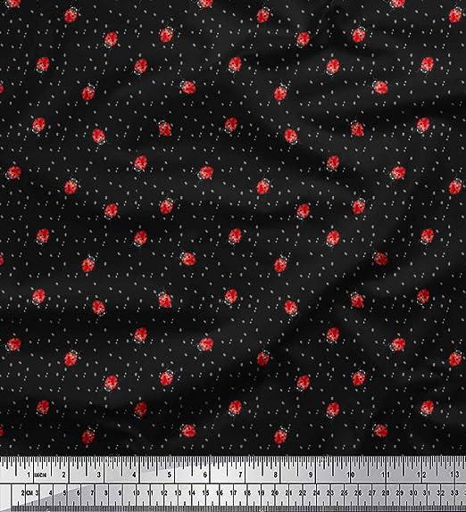 Soimoi Algodón Negro Dot Tela Cambray Y Tela Insectprint Por Metro 42 Pulgadas De Ancho: Amazon.es: Hogar