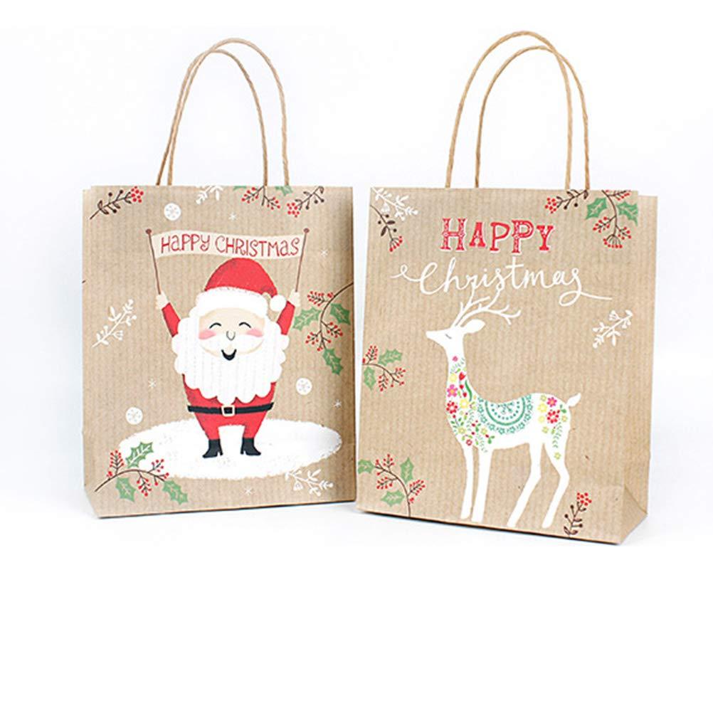 25.5 Toyvian Favores de la Navidad Bolsa de Papel Kraft Bolsas de Asas Caramelos Tratar Bolsas Paquete de Paquetes 21 10 cm 24 unids