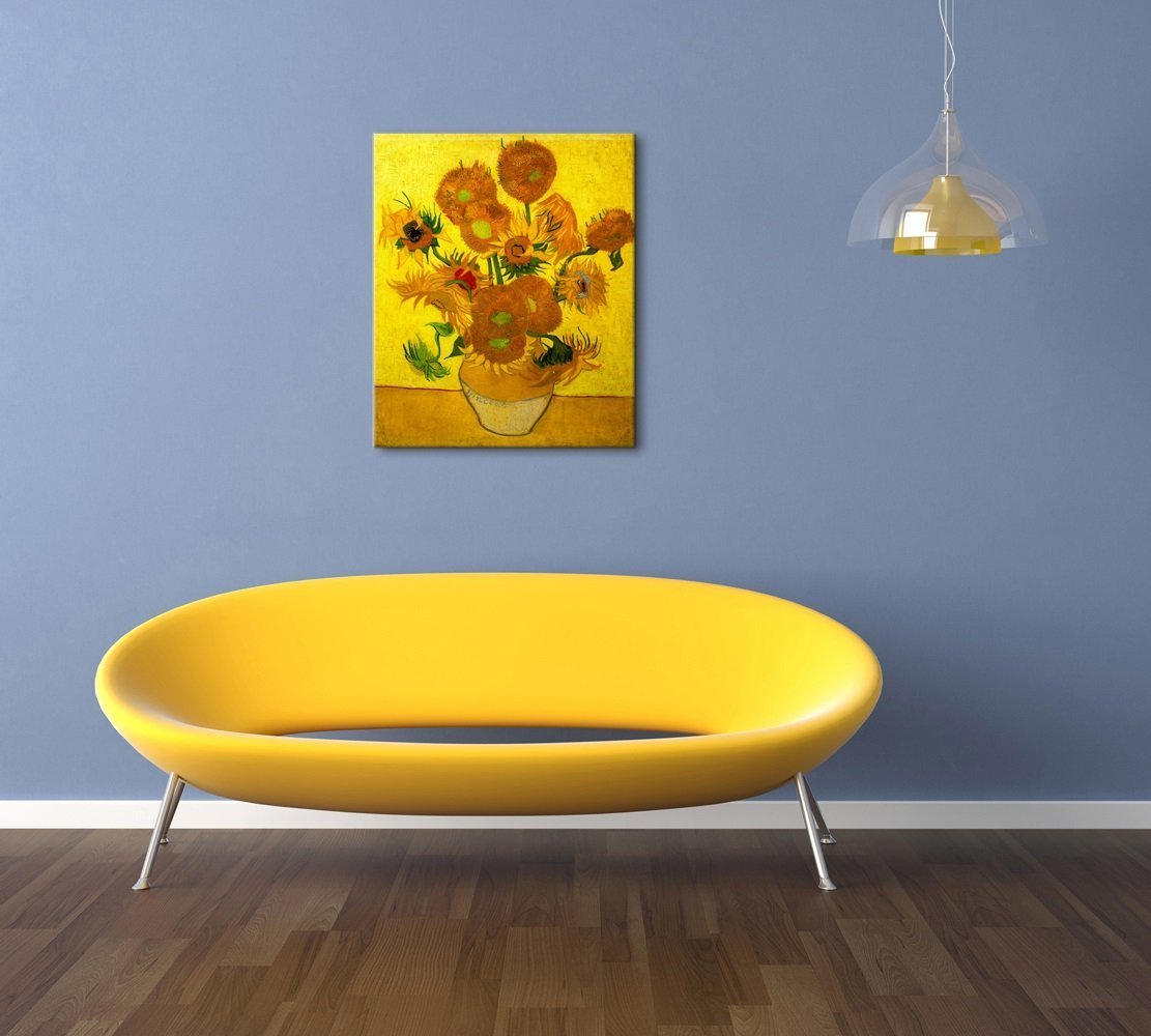 Wieco Art Large Modern Abstract Flowers Giclee Canvas Prints Gallery and Framed Artwork Vase with Fifteen Sunflowers by Van Gogh Oil Paintings Reproduction Pictures on Canvas Wall Art for Home Decoration L
