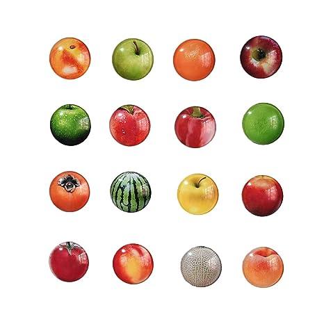 BESTONZON 12 piezas Frutas Diseño Diseño Imanes de refrigerador Imanes de pizarra redonda Vidrio lindo Imanes