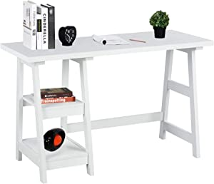 "GreenForest Trestle Desk with Shelf 47"" Computer Desk Home Office Workstation Modern Simple Laptop Desk, White"