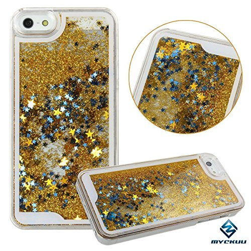 iPhone 6s plus case,iphone 6 plus case, liujie Liquid, Appmax Cool Quicksand Moving Stars Bling Glitter Floating Dynamic Flowing Case Liquid Cover for Iphone 6s plus 5.5inch (gold)