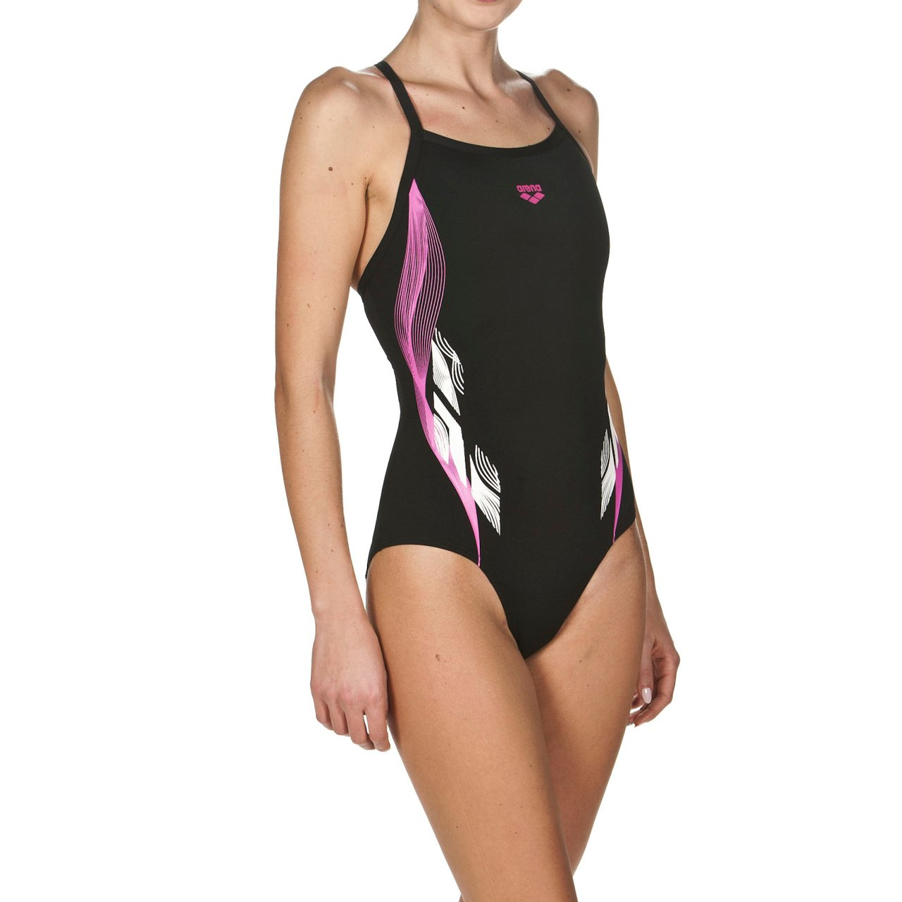 ARENA Womens Sports Swimsuit Fingerprint Fast Drying, UV Protection UPF 50+, Chlorine Resistant, Adjustable