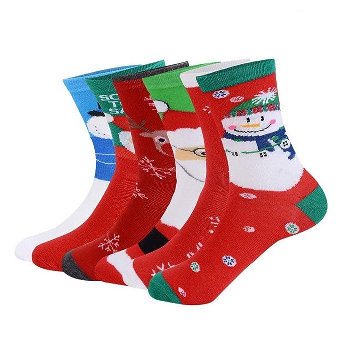 Calcetines de Navidad 6/12 Pares Algodón Patrones Dibujos Animados Regalo de Christmas Transpirable Suave