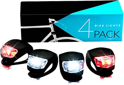 LED Bike Light Set, SGODDE Bicycle Light 2x Red Light 2x White Lights Waterproof Flashlight Power Package Silicone Light Set for Childrens Bikes Mountainbikes Safety lighting