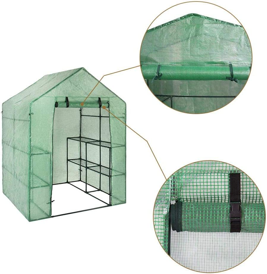 (No Shelves,Only PE Cover) Walk-in Greenhouse 3 Tier 6 PE Cover and Roll-Up Zipper Door, Waterproof Cloche Portable Greenhouse Tent-56L x 28W x 75H Inches, Grow Seeds