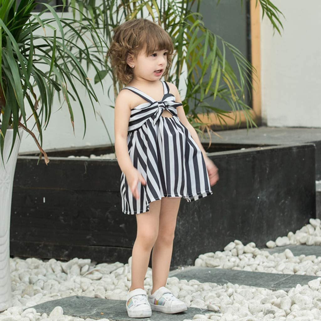 Renlinwell Toddler Baby Kid Girls Stripe Condole Belt Skirt Princess Dresses Casual Sweet Clothes