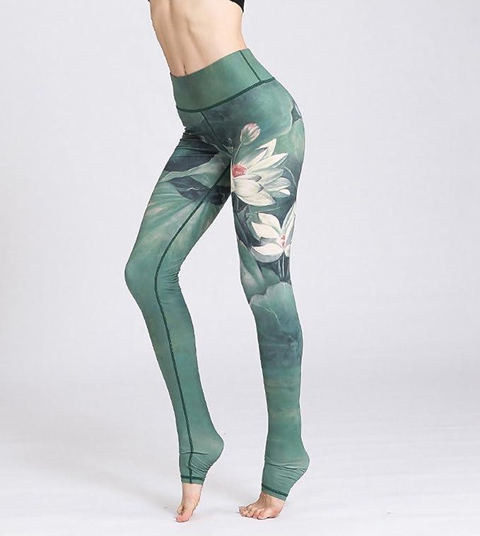 LINNUO Mujer Impresión Yoga Pantalones Moda Fitness Correr ...